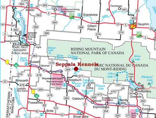 Map of Manitoba Parkland showing new Seppala Kennels location